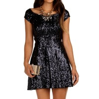 Navy Jazzy Sequin Party Dress
