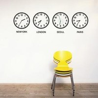 YESSTYLE: iswas- Set of 4: Wall Sticker - 'WORLD CLOCK' - Free International Shipping on orders over $150