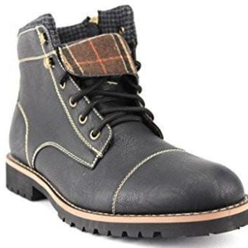 Ferro Aldo Men's 506016 Plaid Fleece Lined Cap Toe Military Combat Boots