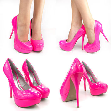 NEON HOT PINK ROUND TOE PATENT LEATHER HIGH HEEL PLATFORM STILETTO PUMPS SANDALS