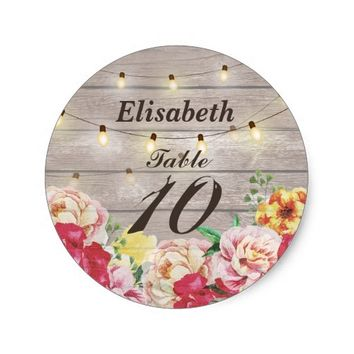 Wedding Seating Floral String Lights & Rustic Wood Classic Round Sticker