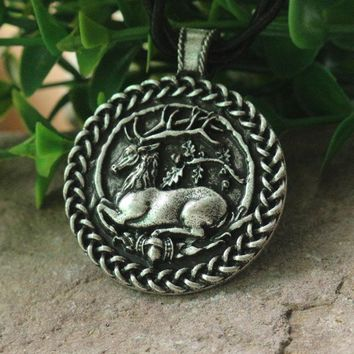 Oak and the Antler Ornament of a deer lying in a circle of oak jewelry animal deer pendant viking necklace