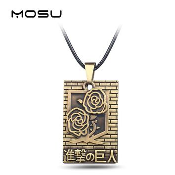 MOSU Anime Attack on Titan Bronze Metal Necklace 2 Rows Cosplay Jewlery Roses badge Pendant Accessories