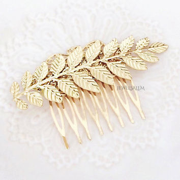 Gold Leaf Hair Comb, Woodland Wedding, Bridal Headpiece, Hair Slide for Bride, Grecian, Vintage Style, Boho, Chintz, Bridesmaid Gift