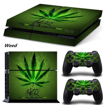 Hot Sale Sticker for ps4 stickers Green Weed for Sony PS4 PlayStation 4 Console and 2 controller skins