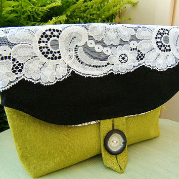 Foldover Makeup Pouch / Small Clutch in black by ElleRJBoutique