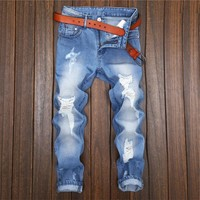 Jeans Fashion Men Denim Casual Slim Ripped Holes Design Baggy Jeans Cropped Pants [3444985102429]