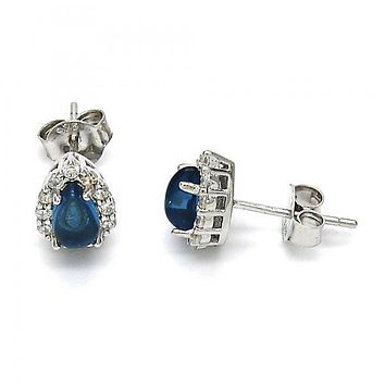 Sterling Silver 02.186.0025 Stud Earring, Teardrop Design, with White and Blue Topaz Cubic Zirconia, Polished Finish, Rhodium Tone