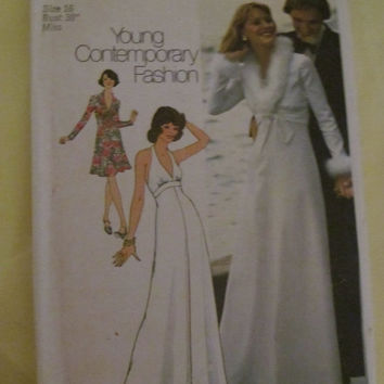 Sale 1970's Simplicity Sewing Pattern, 6658! Size 16, Bust 38, Women's, Size Large, Dress, Evening Gown, Prom, Casual Summer or Spring Dress