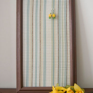 Contemporary Brown Striped Earring Holder Frame