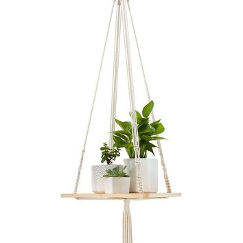 Mkono Macrame Shelf Hanging Planter Home Decor 45 Inches