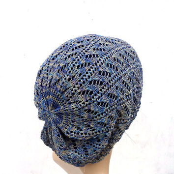 Knitted cotton beanie, knit blue yellow beanie, colorfull hat, knitting accessories, lace cap, knit summer cloche,  slouche, sun hat