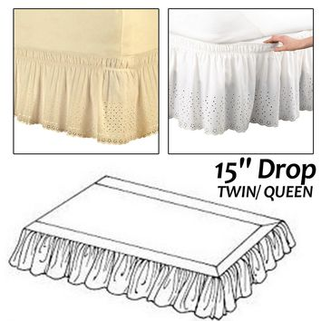 Drop Twin/ Queen Hotel Elastic Bed Skirt 1.5m/2m Ruffled Romantic Bedspread Cover Without Surface for Wedding Use Bed Decor