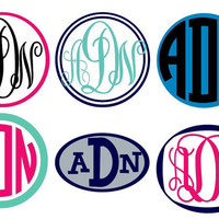 "3"" Small Vinyl Monogram Sticker 2 Color"