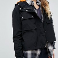 New Look Cropped Pocket Detail Cagoule Jacket at asos.com