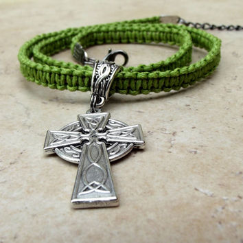 Father's Day Jewelry, Men's Celtic Cross Necklace:  Neon Lime Green Chartreuse Braided Macrame Hemp Unisex Jewelry