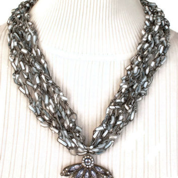 Gray and Silver Crocheted Trellis Yarn Adjustable Necklace With Pendant