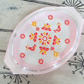 Friendship Pyrex Casserole Dish Divided Dish Red Pyrex Birds of Paradise Pyrex Orange and Red Retro Pyrex Vintage Pyrex
