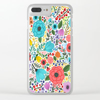 Colorful Vintage Spring Flowers Clear iPhone Case by Smyrna