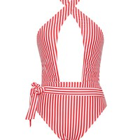 Ischia Red Striped Criss Cross One Piece Swimsuit