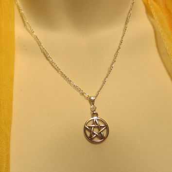 Pentacle Pentagram Necklace, Silver Wicca Jewelry, Pagan Ritual Wear