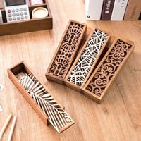 Multifunction Creative Hollow Wood Pencil Case Storage Box Students Wooden Pencil Box Stationery School Gift V2827