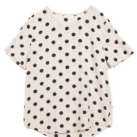 Equipment Riley Tee - Polka Dot Silk T-Shirt - ShopBAZAAR