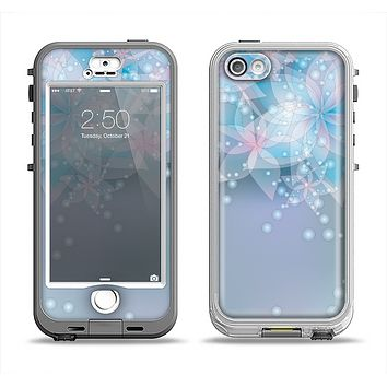 The Translucent Glowing Blue Flowers Apple iPhone 5-5s LifeProof Nuud Case Skin Set