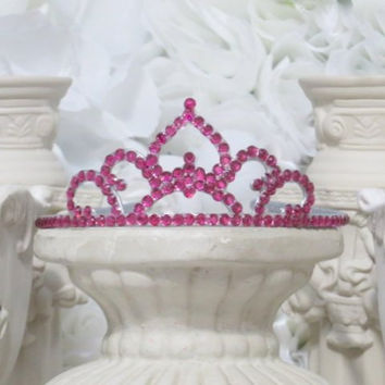 Princess Tiara - Pink Tiara - Dress Up - Bridal Shower Accessories - Birthday Crown - Rhinestone Hair Accessories - Adult Headband - Gifts