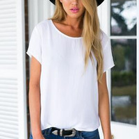 White Cotton Causal T Shirt B005860