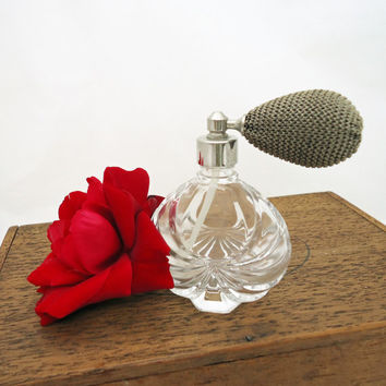 Vintage Perfume Bottle, Clear Glass Perfume Bottle with Atomizer, UK Seller
