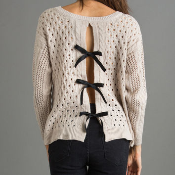Irina Bow Back Taupe Sweater