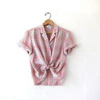 Vintage plaid cotton shirt. Cropped pink tshirt. Short sleeve tee shirt. Boxy button up shirt.