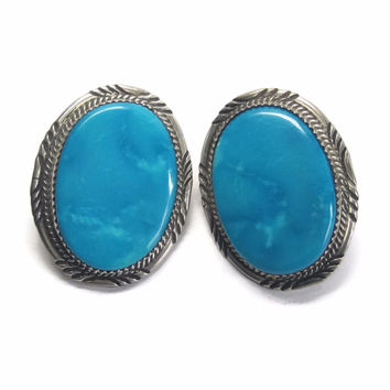 Large Vintage Navajo Blue Turquoise Earrings Begay Blue Gem Mine