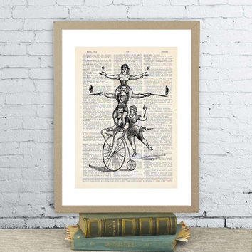 Funny vintage circus family on bike. Vintage dictionary paper illustration art print. Wall hanging 8X10.5 in. Bicycle art .Upcycled.