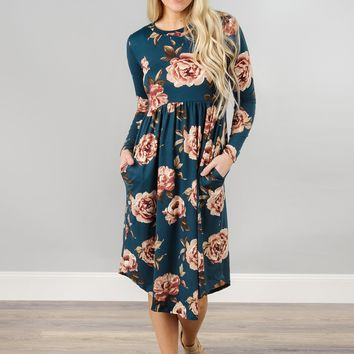 Cinch Waist Floral Midi with Rounded Hem