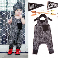 Rompers Toddler Kids Baby Girl Boy 2016 New Summer Cotton Dark Gray Sleeveless Jumpsuit Outfits Brand Costume Fashion Boys 1-6Y