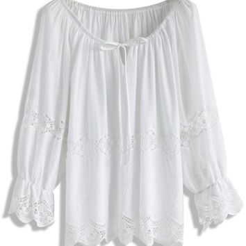 Smitten in Lace Trimmed White Top