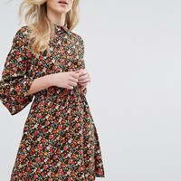 Influence Collared Flared Sleeve Dress In Floral Print at asos.com