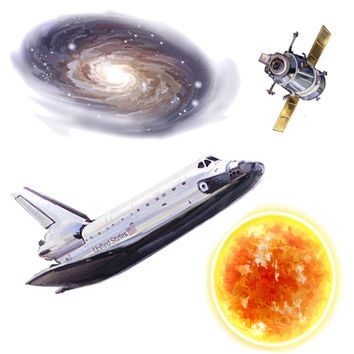 Space Travel Planets 24pc Self-Stick Wall Accent Stickers
