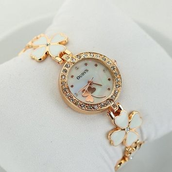 Women's Fashion Stylish Gold Tone Lucky Four Leaf Clover Bracelet Watch
