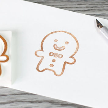 gingerbread man stamp, huge ginger bread man rubber stamp, christmas rubber stamp, chrsitmas card DIY, cookie stamp, christmas present tag