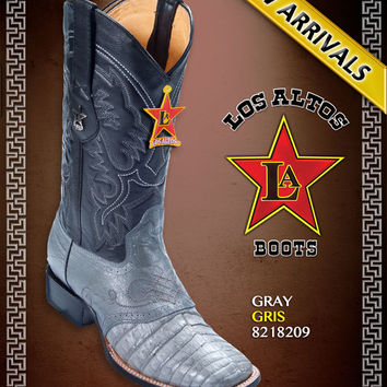Los Altos Caiman Belly Saddle Square Toe Mens Cowboy Western Boots Gray