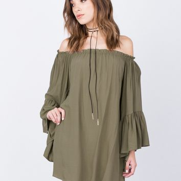 Frilly Off-the-Shoulder Dress