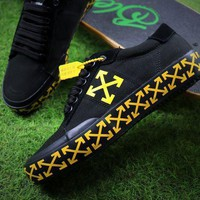 Off White Vulcanised Arrows Sneakers Black/yellow Canvas Shoes - Beauty Ticks