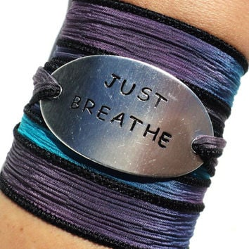 Silk Wrap Bracelet Yoga Jewelry Just Breathe Inspirational Unique Gift For Her Teacher Christmas Stocking Stuffer Under 50 Item K46