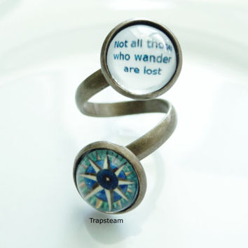 Not All Those Who Wander Are Lost Compass Ring Statement Jewelry Compass Quote Ring Double Ring Jewelry Statement Ring Quote Wander Jewelry