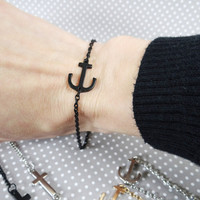 Petite Sideways Anchor or Cross Bracelets - 3 Finishes