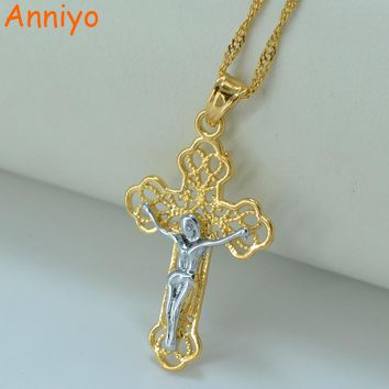 Anniyo Two Tone Cross Necklace Pendant for Women,Silver/God Color Jesus Jewelry GP Christianity Crucifix Religious