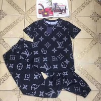 """LOUIS VUITTON""Woman's Leisure  Fashion Letter Personality Printing Loose Short Sleeve Trousers Two-Piece Set Casual Wear"
